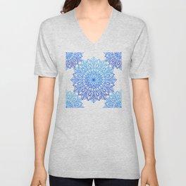 Organic Simplicity: Ocean Blue Mandalas on White Cotton Sheets Unisex V-Neck