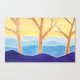 Trees in Peace Watercolor Painting Canvas Print