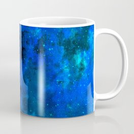 SECOND STAR TO THE RIGHT Rich Indigo Navy Blue Starry Night Sky Galaxy Clouds Fantasy Abstract Art Coffee Mug