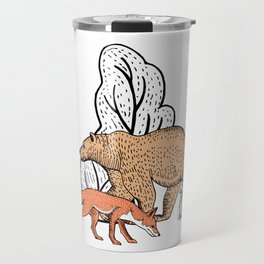 Fantastic forest with bear, rabbit and fox Travel Mug