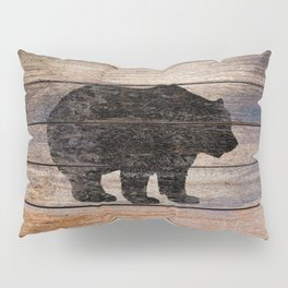 Rustic Bear Silhouette on Wood Country Art A231a Pillow Sham