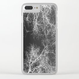 White silhouetted trees Clear iPhone Case