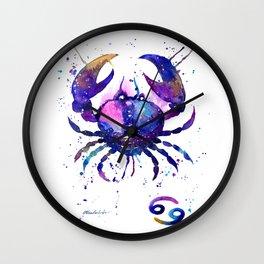 Cancer Zodiac Sign Watercolor Splatter Art Wall Clock