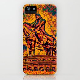 Mongolia Chinggis Khan Equestrian Statue Artistic Illustration Warrior Shapes Style iPhone Case