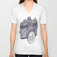 camera V-neck T-shirts featuring camera by smurfmonster