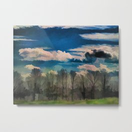 Watercolor Foggy Woodlands Metal Print