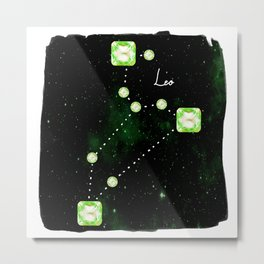 Leo Constellation in Peridot - Star Signs and Birth Stones Metal Print