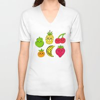 fruits V-neck T-shirts featuring Kawaii Fruits by Ornaart