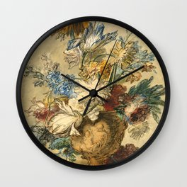 "Jan van Huysum ""Bouquet of Spring Flowers in a Terracotta Vase"" Wall Clock"