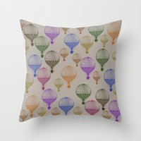 hot air balloons Throw Pillows featuring Colorful Hot Air Balloons by Zen and Chic