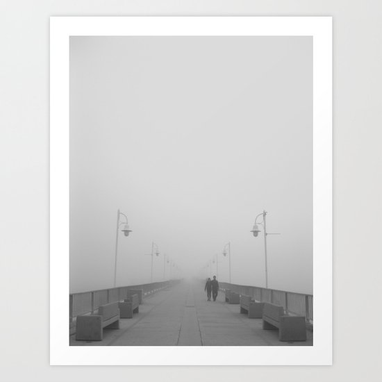 Foggy Beach Pier Walks Art Print