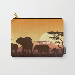 elephants in the African meadow Carry-All Pouch