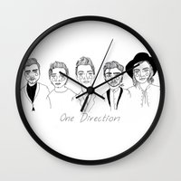 cactei Wall Clocks featuring One Direction by ☿ cactei ☿