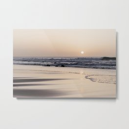 Pastel sunset at the beach   Waves of the Atlantic Ocean   Fine Art Travel Photography   Metal Print