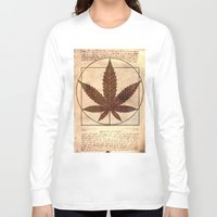marijuana Long Sleeve T-shirts featuring vitruvian marijuana by Emekli Astronot
