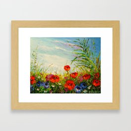 Field in poppies and cornflowers Framed Art Print