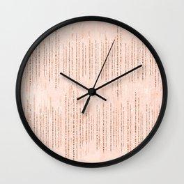Blush chic faux rose gold pastel pink brushstokes Wall Clock