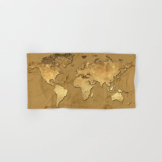 world map marble gold 3 Hand & Bath Towel