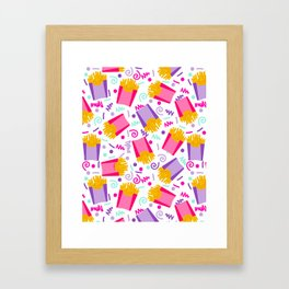 French Fries junk food party time razzle neon bright happy fun kids children pop art pattern foods Framed Art Print