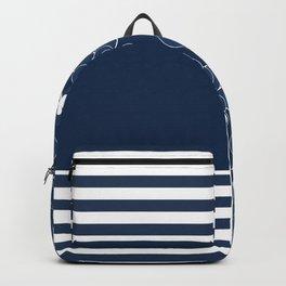 Patchwork , floral , blue , striped Backpack