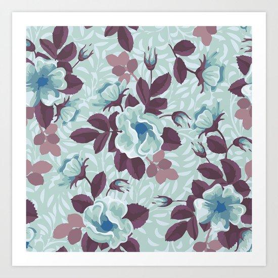 Retro Floral Pattern Art Print