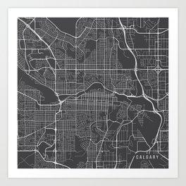 Calgary Map, Canada- Gray Art Print