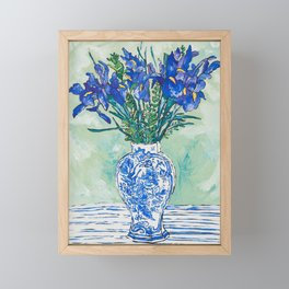 Iris Bouquet in Chinoiserie Vase on Blue and White Striped Tablecloth on Painterly Mint Green Framed Mini Art Print