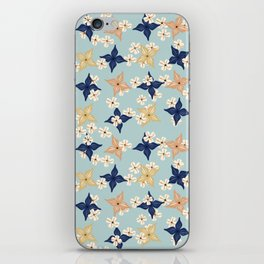 Dainty floral pattern on duck egg blue iPhone Skin