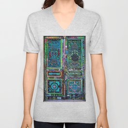 French Painted Colorful Paris Doorway Photograph Unisex V-Neck