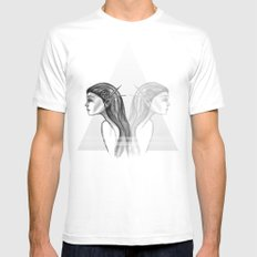 Double  White Mens Fitted Tee MEDIUM
