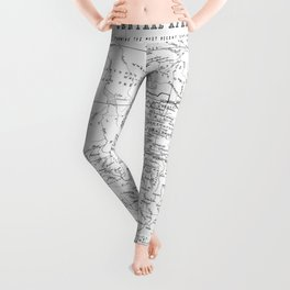 Black And White Vintage Map Of Africa Leggings
