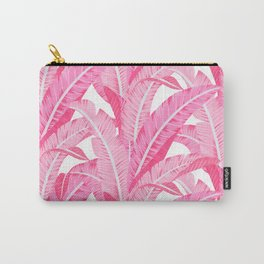 Pink banana leaves tropical pattern on white Carry-All Pouch