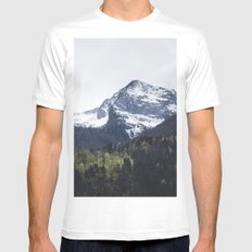 Winter and Spring - green trees and snowy mountains Mens Fitted Tee MEDIUM White