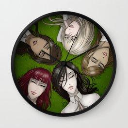 Girls on the grass Wall Clock