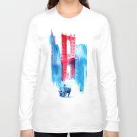 bridge Long Sleeve T-shirts featuring Manhattan bridge by Robert Farkas