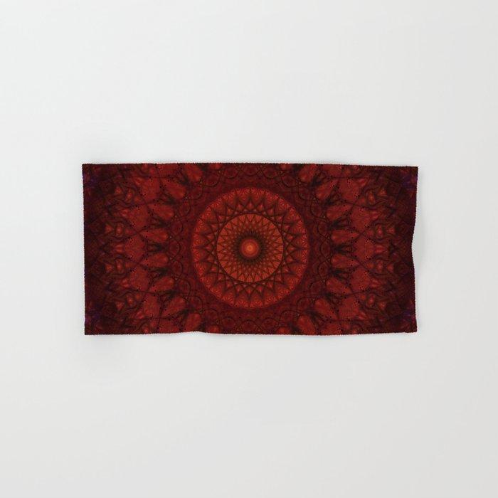 Dark and light red mandala Hand & Bath Towel