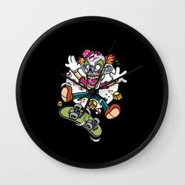 Comic - Clown Skater Skull - dark Wall Clock