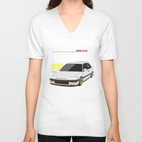 honda V-neck T-shirts featuring Honda Civic EF Hatchback by Nineties Customs