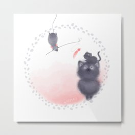 Cat and Rat Metal Print