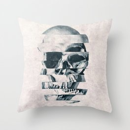 Glitch Skull Mono Throw Pillow
