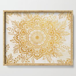 Queen Starring of Mandala-Gold Sunflower I Serving Tray