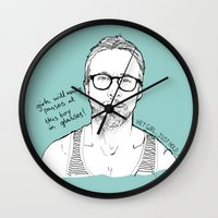ryan gosling Wall Clocks featuring Hey Girl, The Gosling by Dear Colleen