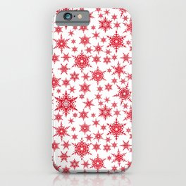 Red snowflakes on white. iPhone Case