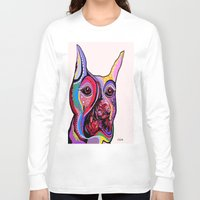 doberman Long Sleeve T-shirts featuring Doberman by EloiseArt