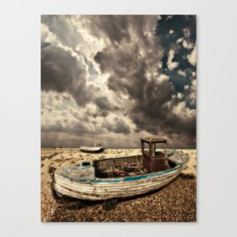 dreamy wrecked wooden fishing boats Canvas Print
