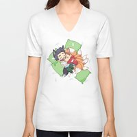 sterek V-neck T-shirts featuring Bonus Sleepy Sterek Spin-Off by MGNemesi