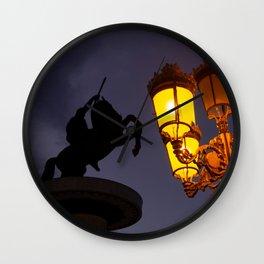 Skopje statue and streetlights at night Wall Clock