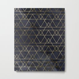 Modern Deco Gold and Marble Geometric Mountains on Navy Blue Metal Print