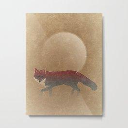 Wild Red Fox with Sun Metal Print