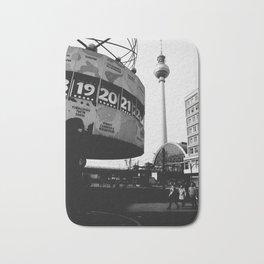 Berlin Alexanderplatz black and white photography Bath Mat